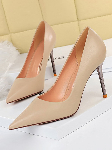 Milanoo Women\'s Pumps Chic Pink PU Leather Pointed Toe Stiletto Heels