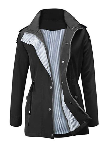 Milanoo Abrigo de mujer con capucha y cordones Abrigo informal de lana azul marino