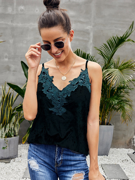 Yoins Lace Trim Velvet V-neck Sleeveless Cami