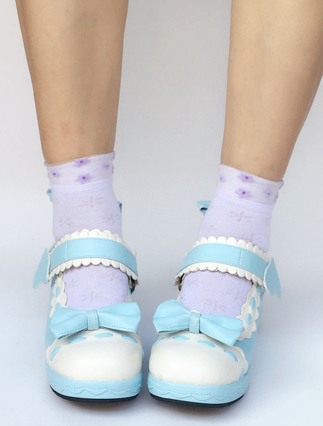 Milanoo Sweet Lolita Shoes Light Sky Blue Bow Wedge Ankle Strap Round Toe Lolita Pumps