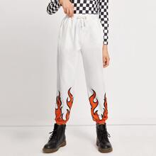 Girls Slant Pocket Fire Print Joggers