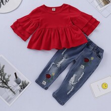 Toddler Girls Layered Sleeve Peplum Tee With Ripped Jeans