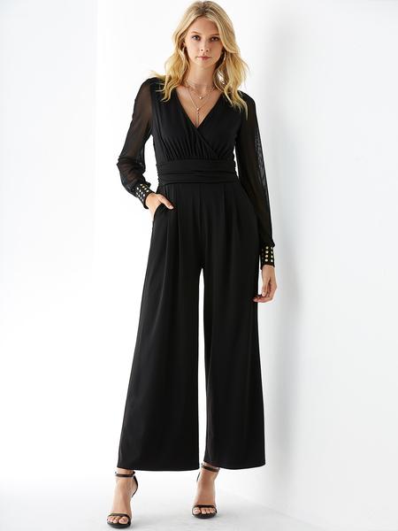 YOINS Black V-neck Long Sleeves Wide Leg Mesh Jumpsuit