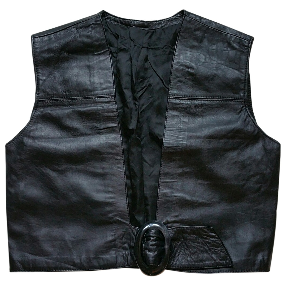 Non Signé / Unsigned \N Black Leather Knitwear for Women 44 IT