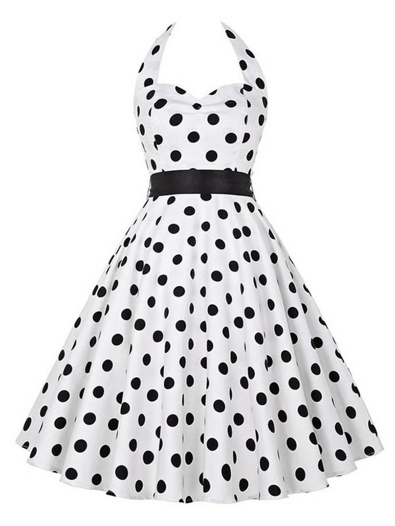 Ericdress Vintage Halter Polka Dots A Line Dress