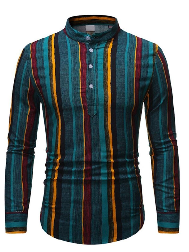 Ericdress Print Stripe Stand Collar Slim Fall Shirt
