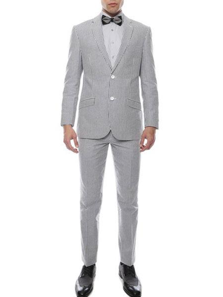 Mens 2 Button Single Breasted Premium Comfort Cotton  Black Suit