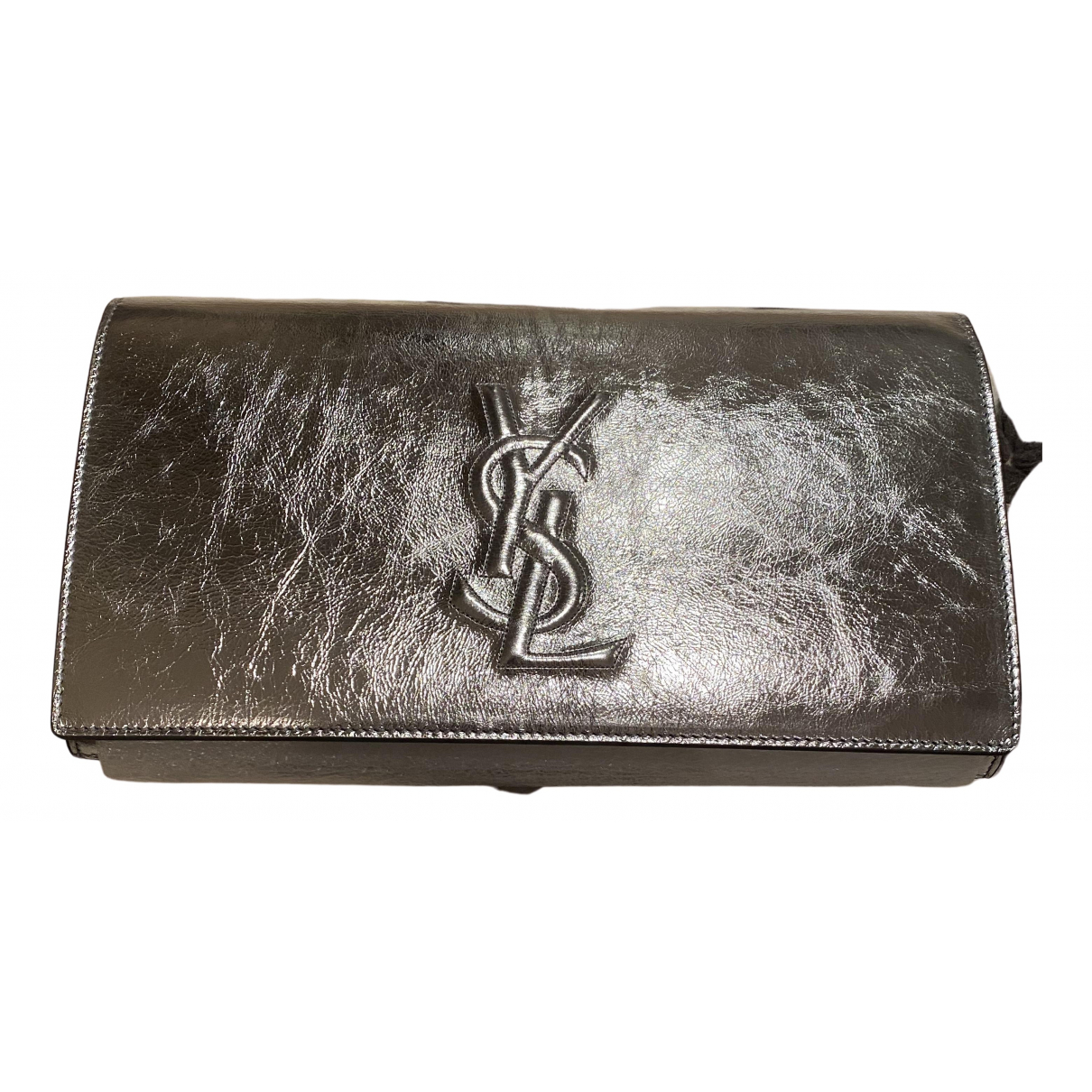 Yves Saint Laurent Belle de Jour Clutch in  Silber Lackleder