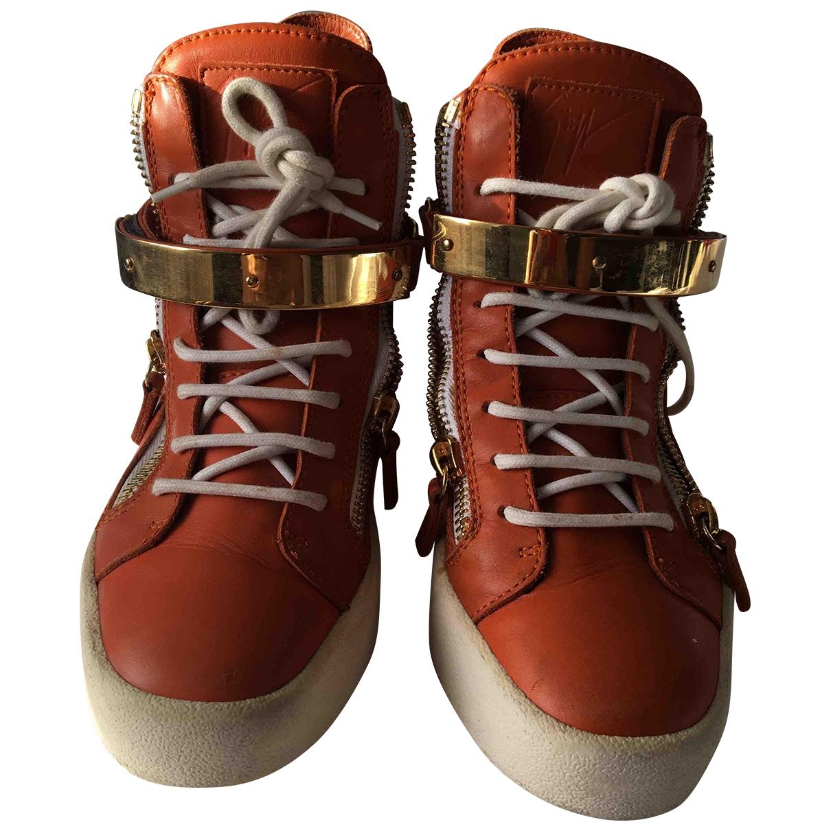Giuseppe Zanotti Donna Sneakers in  Orange Leder