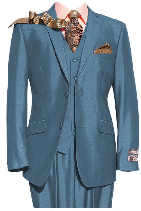 Mens Blue 2 Button Notch lapel 3 Piece Suit