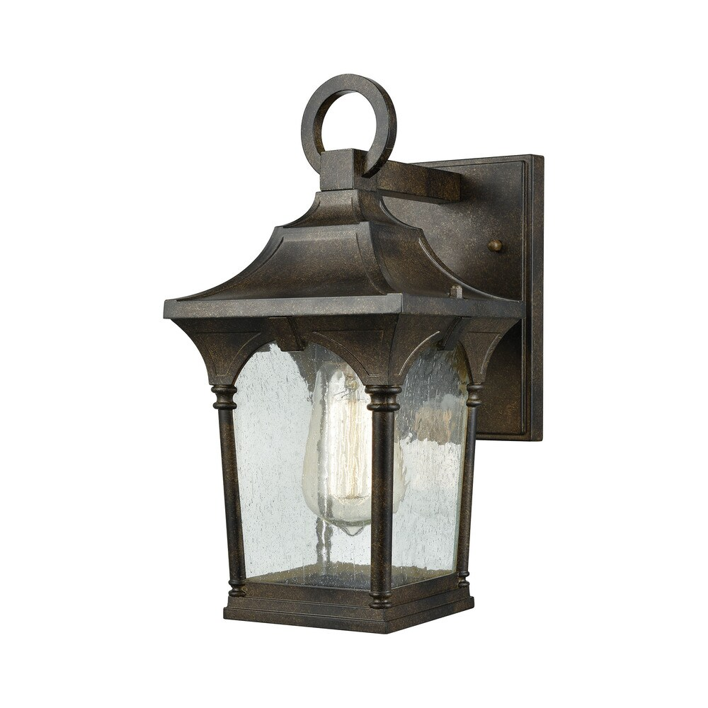 Loringdale Hazelnut Bronze 1-light Outdoor Wall Sconce with Clear Seedy Glass (Sconce)