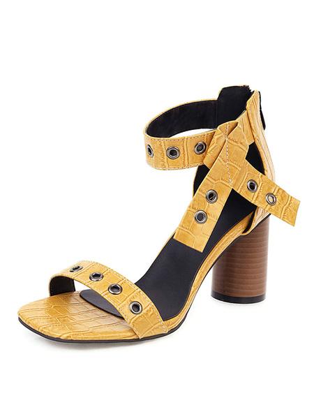 Milanoo Sandalias de mujer Zapatos de talla grande con talon abierto y talon cilindrico
