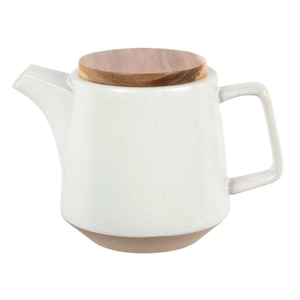 Teekanne aus weisser Fayence und Akazienholz, 1,2 l
