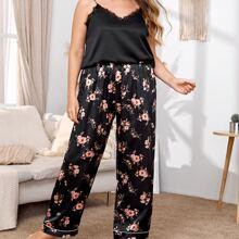 Plus Eyelash Lace Satin Cami Top & Floral Print Pants PJ Set
