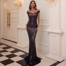 Off Shoulder Zip Back Sequin Prom Dress