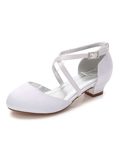 Milanoo White Party Shoes Satin Wedding Flower Girl Shoes Round Toe Criss Cross Girl Shoes