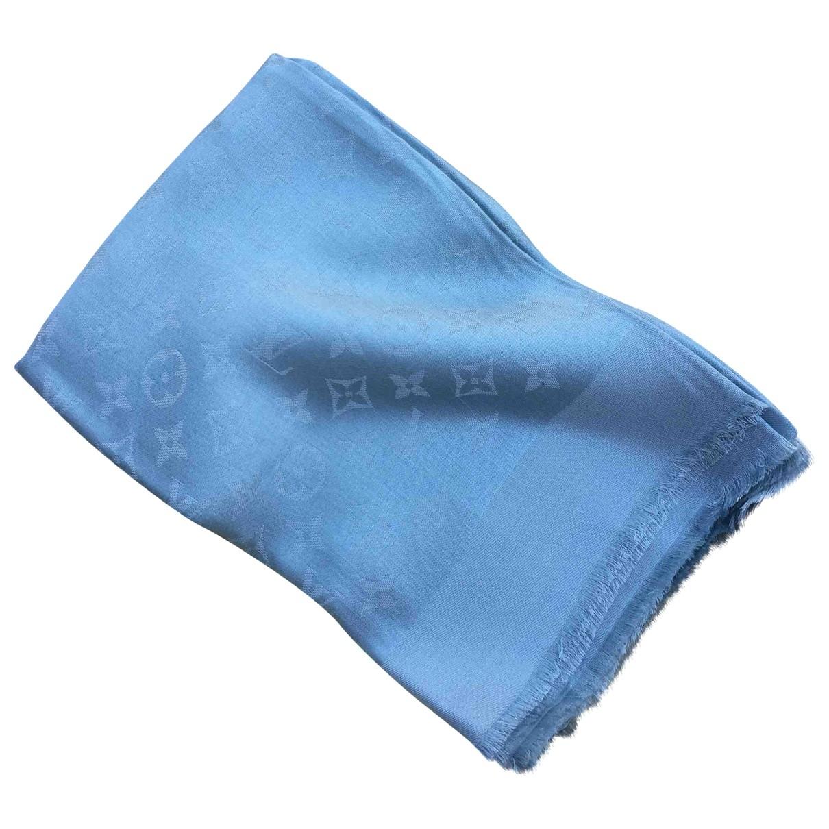 Louis Vuitton Châle Monogram shine Blue Silk scarf for Women \N