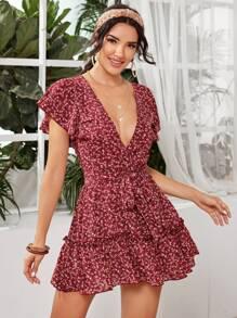 Ditsy Floral Deep V Neck Belted Dress