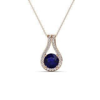 TriJewels Sapphire Diamond Accent Teardrop Pendent Necklace 14K Gold (Blue Sapphire - Rose)