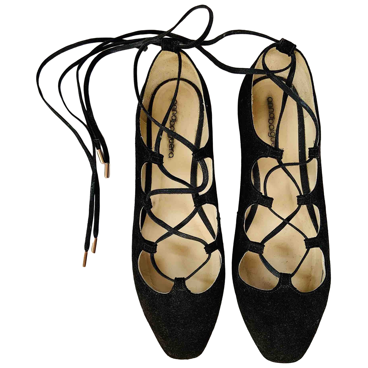 Non Signé / Unsigned \N Black Leather Ballet flats for Women 41 IT
