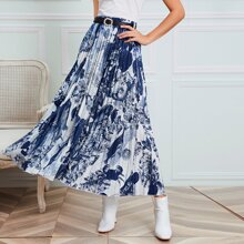 Landscape Print Belted Pleated Skirt
