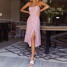 Split Hem Shirred Back Floral Print Cami Dress