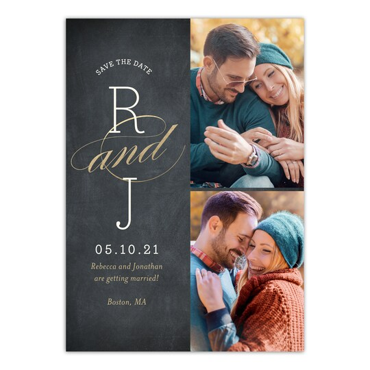 20 Pack of Gartner Studios® Personalized Wedding Initials Save The Date in Black | 5