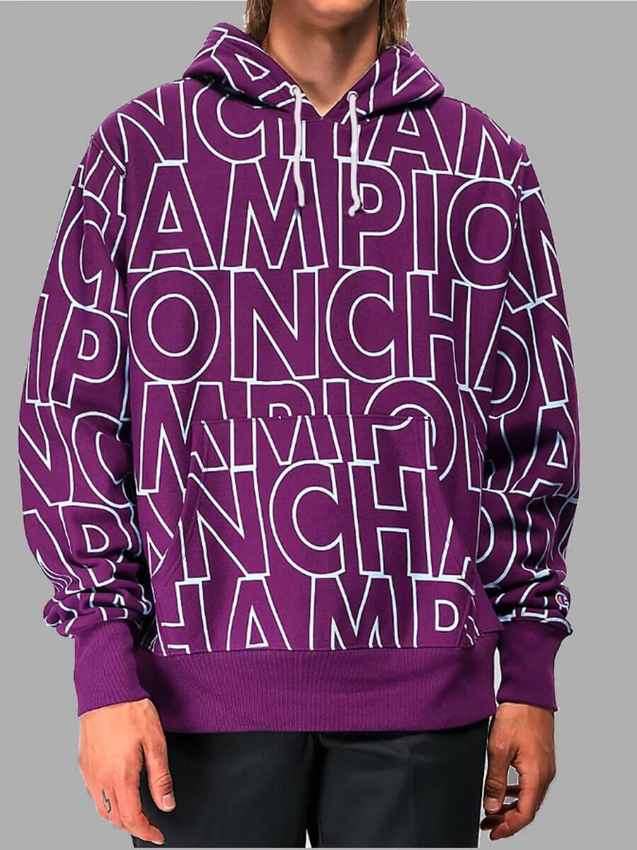 LW Lovely Street Hooded Collar Letter Print Purple Men Hoodie