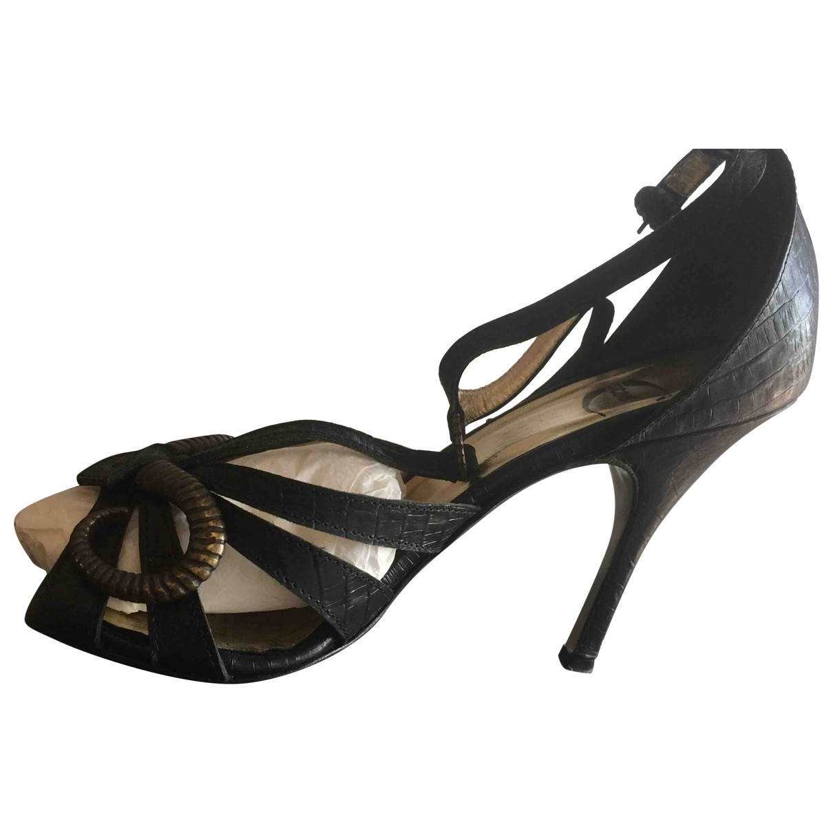 Just Cavalli - Sandales   pour femme en alligator - anthracite