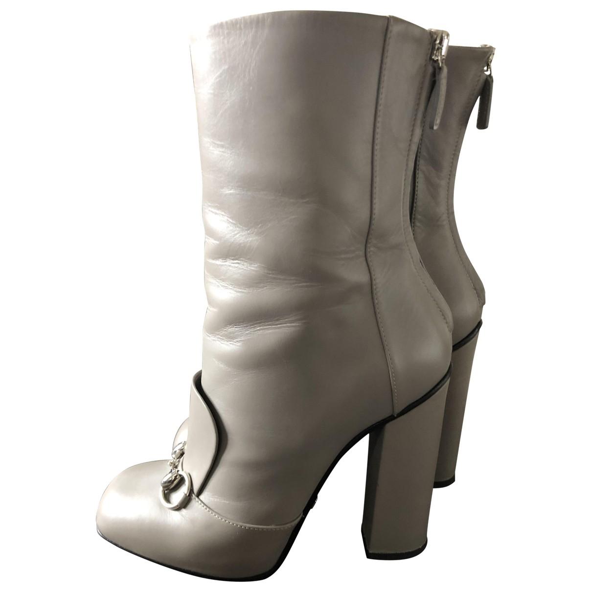 Gucci - Boots   pour femme en cuir - gris