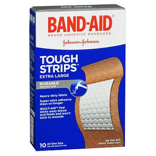 Band-Aid Tough-Strips Adhesive Bandages Extra Large All One Size 10 ct by Band-Aid
