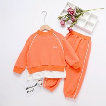 Sweatshirt & Jogginghose mit Buchstaben Grafik und Raglanaermeln