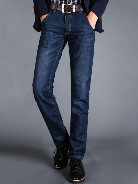 Milanoo Blue Denim Jeans Distressed Washed Striaght Leg Jean For Men