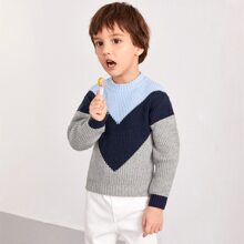 Toddler Boys Colorblock Chevron Pattern Sweater