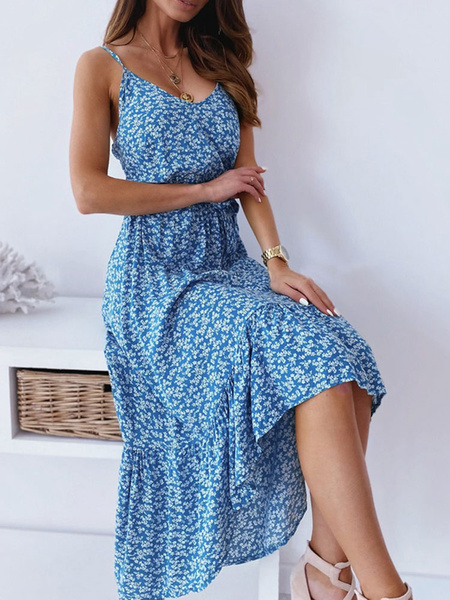 Milanoo Maxi Dresses Sleeveless Red Printed Straps Neck Polyester Casual Long Dress Summer Dress