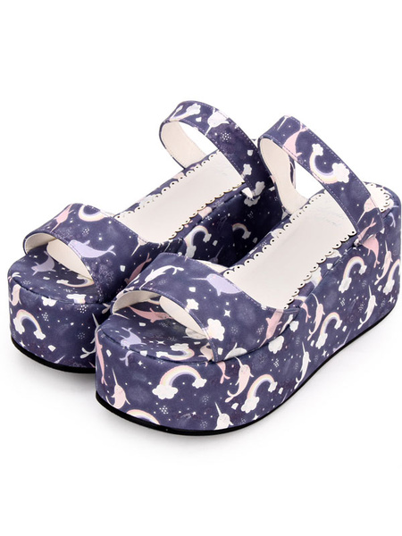Milanoo Sweet Lolita Slides Print PU Wedge Heel Platform Sandalias Lolita