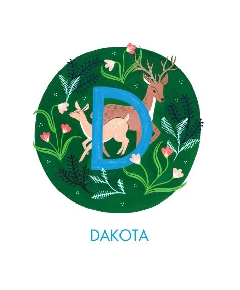 Baby + Kids Canvas Print, 11x14, Home Décor -Animal Monogram D