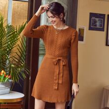 Solid Belted Sweater Dress