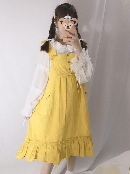 Milanoo Dulce vestido de Lolita JSK volante con volantes de algodon de lino Falda jumper de Lolita amarilla