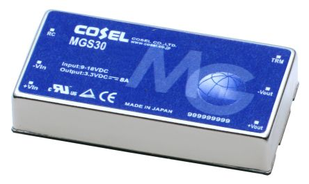 Cosel 30W Isolated DC-DC Converter Through Hole, Voltage in 36 → 76 V dc, Voltage out 5V dc