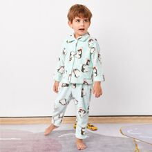 Toddler Boys Allover Cartoon Graphic Teddy PJ Set
