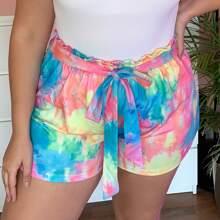 Grosse Grossen - Shorts mit Papiertasche Taille und Batik