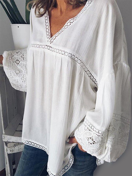 Yoins ZANZEA Crochet Lace Embellished V-neck Blouse