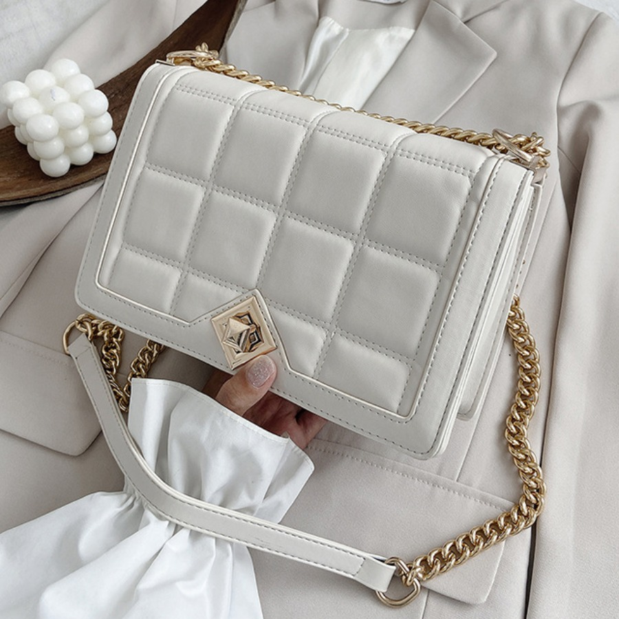 LW lovely Stylish Chain Strap White Crossbody Bag