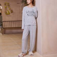 Slogan Graphic Drop Shoulder Pajama Set