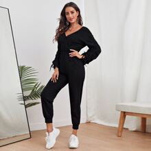 Surplice Neck Drawstring Ruched Sleeve Solid Jumpsuit