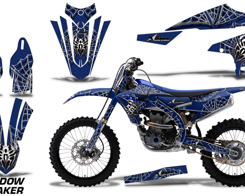 AMR Racing Graphics MX-NP-YAM-YZ450F-2018+-WM S U Kit Decal Sticker Wrap + # Plates For Yamaha YZ450F 2018+áWIDOW SILVER BLUE