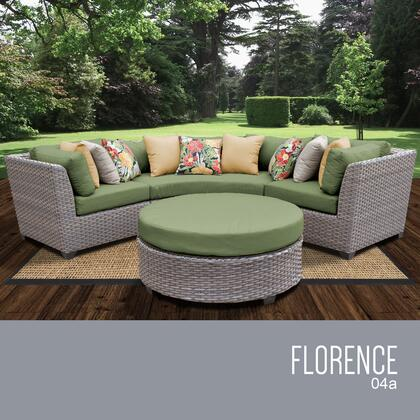 FLORENCE-04a-CILANTRO Florence 4 Piece Outdoor Wicker Patio Furniture Set 04a with 2 Covers: Grey and
