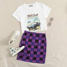 Letter Graphic Top & Plaid Skirt Set