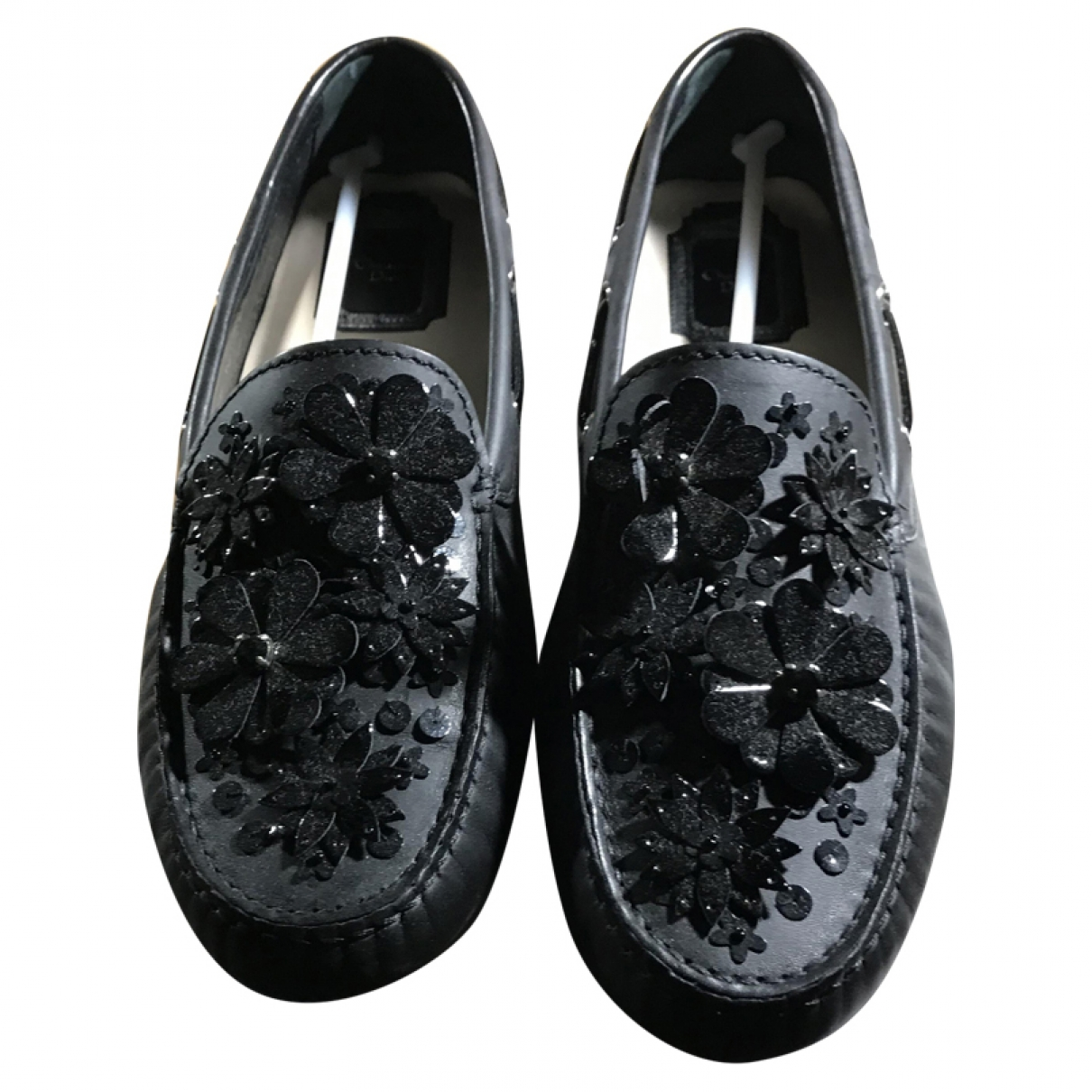 Dior \N Navy Leather Flats for Women 38 EU